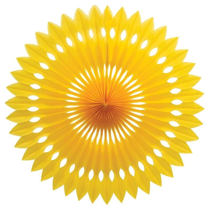 HANGING PAPER FANS 24CM YELLOW