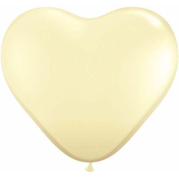 HEART LATEX BALLOON 28CM - FASHION IVORY SILK PK 100