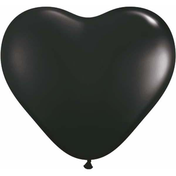 HEART LATEX BALLOON 15CM - FASHION ONYX BLACK PK 100