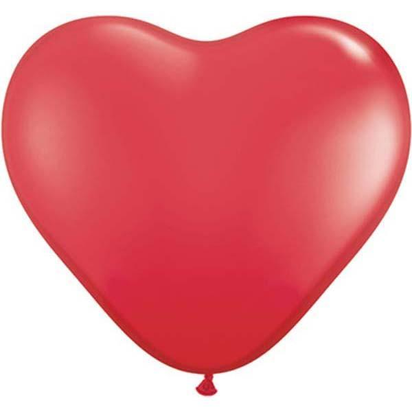 HEART LATEX BALLOON 28CM - FASHION RED PK 100