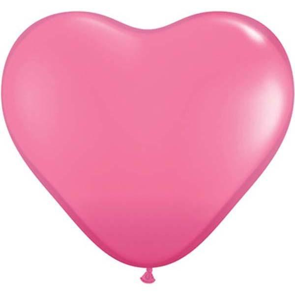 HEART LATEX BALLOON 28CM - FASHION ROSE PK 100