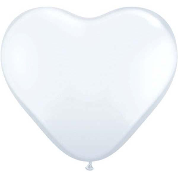 HEART LATEX BALLOON 28CM - FASHION WHITE PK 100