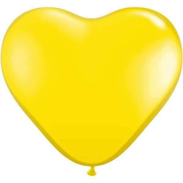 HEART LATEX BALLOON 15CM - JEWEL CITRINE YELLOW PK 100
