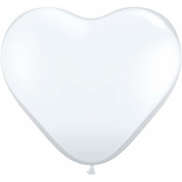 HEART LATEX BALLOON 28CM - JEWEL DIAMOND CLEAR PK 100