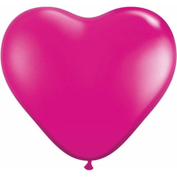 HEART LATEX BALLOON 15CM - JEWEL MAGENTA PK 100
