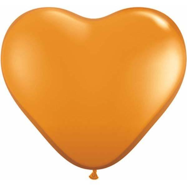 HEART LATEX BALLOON 15CM - JEWEL MANDARIN ORANGE PK 100