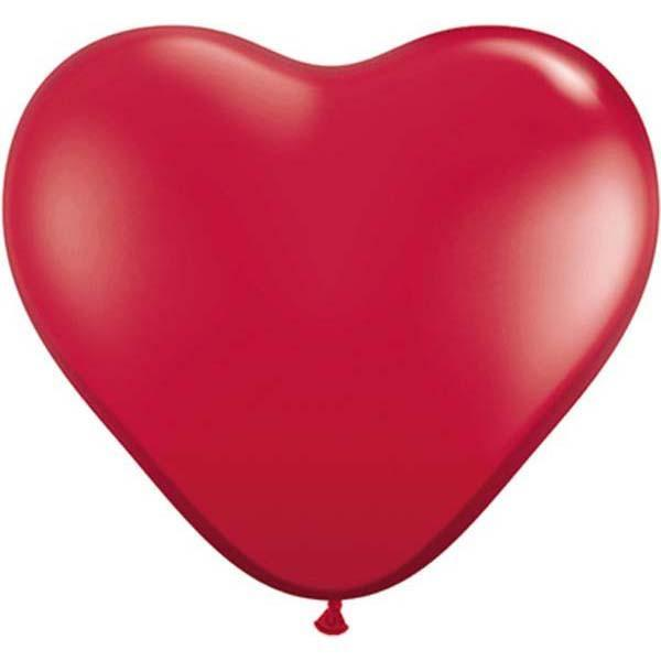 HEART LATEX BALLOON 15CM - JEWEL RUBY RED PK 100