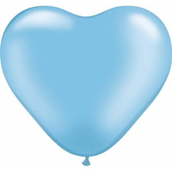 HEART LATEX BALLOON 15CM - PEARL AZURE BLUE PK 100