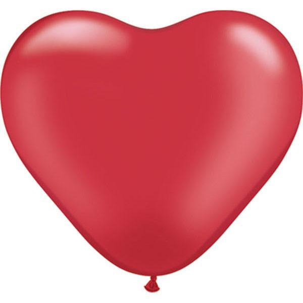 HEART LATEX BALLOON 15CM - PEARL RUBY RED PK 100