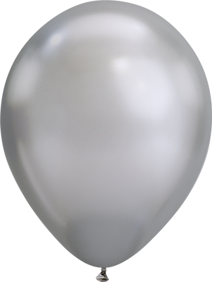 LATEX BALLOON 28CM - CHROME SILVER PK 25