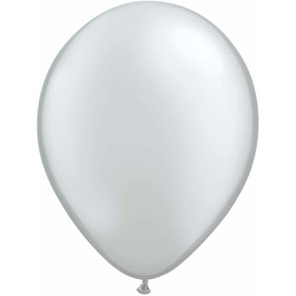 LATEX BALLOON 40CM - METALLIC SILVER PK 50