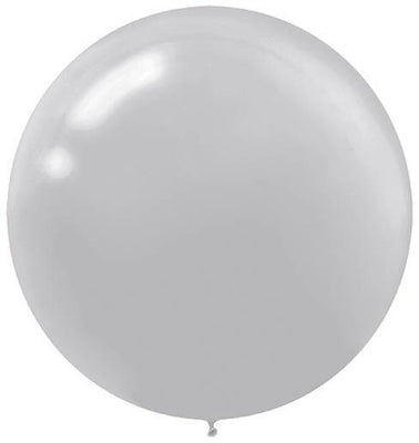 LATEX BALLOON 60CM - SILVER PK 4