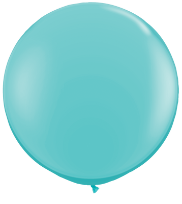 LATEX JUMBO BALLOON 90CM - FASHION CARIBBEAN BLUE PK 2