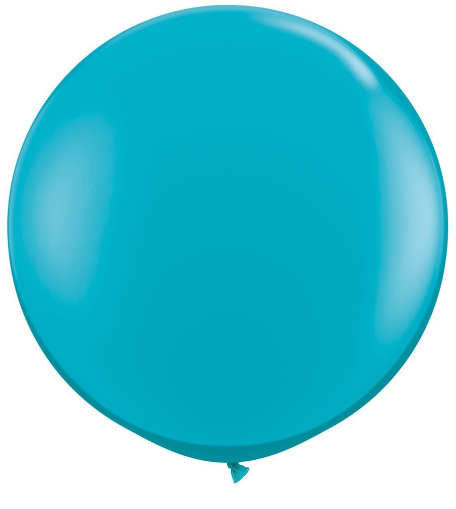 LATEX JUMBO BALLOON 90CM - FASHION TROPICAL TEAL PK 2