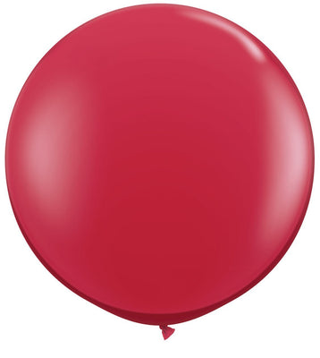LATEX JUMBO BALLOON 90CM - JEWEL RUBY RED PK 2