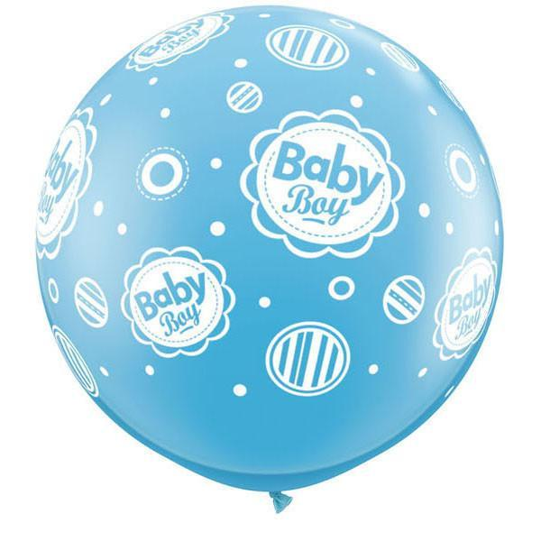 LATEX JUMBO PRINTED BALLOON 90CM - BABY BOY DOTS PK 2