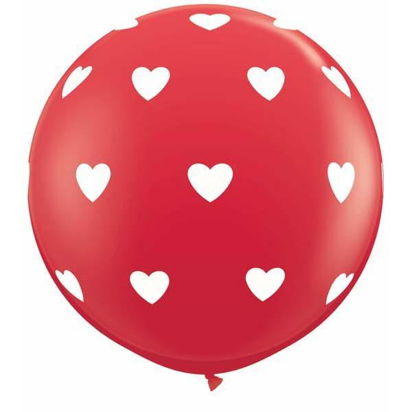 LATEX JUMBO PRINTED BALLOON 90CM - BIG HEARTS RED