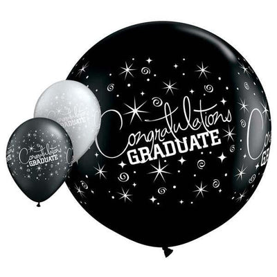 LATEX JUMBO PRINTED BALLOON 90CM - BLACK GRADUATION WRAP PK 2