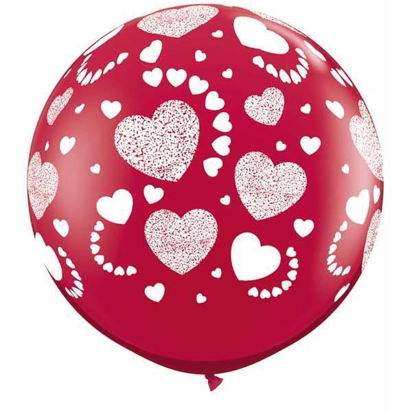 LATEX JUMBO PRINTED BALLOON 90CM - ETCHED HEARTS RUBY RED PK 2