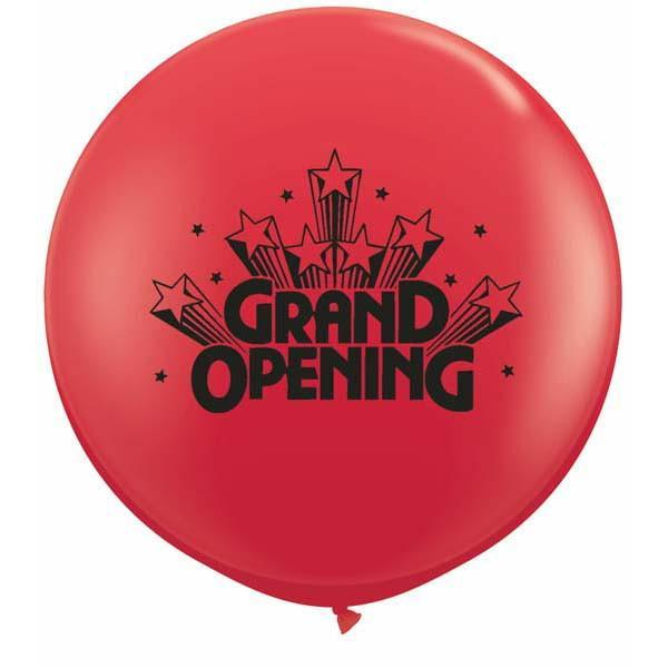 LATEX JUMBO PRINTED BALLOON 90CM - GRAND OPENING STARS RED PK 2