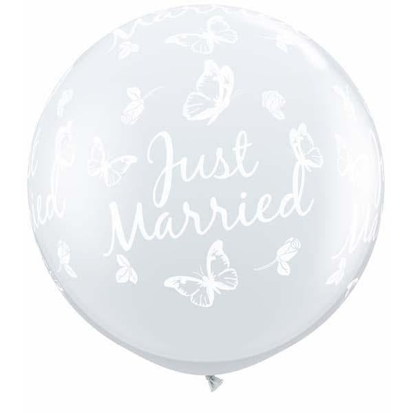 LATEX JUMBO PRINTED BALLOON 90CM - JUST MARRIED BUTTERFLIES CLEAR PK 2