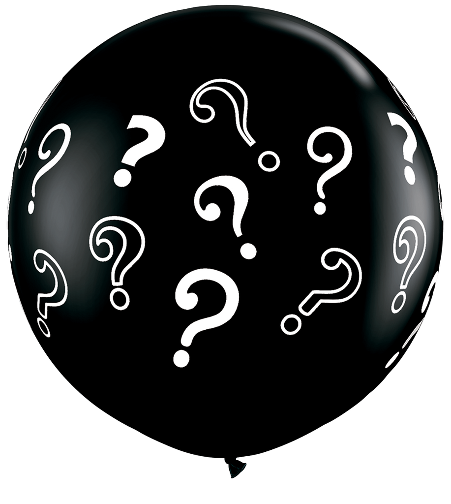 LATEX JUMBO PRINTED BALLOON 90CM - QUESTION MARKS ONYX BLACK