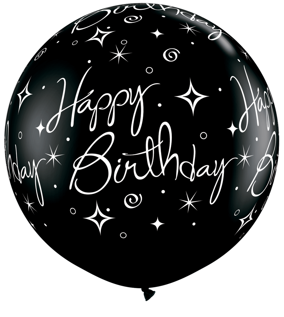 LATEX JUMBO PRINTED BALLOON 90CM - SILVER ROUND BIRTHDAY SPARKLES & SWIRLS PK 2