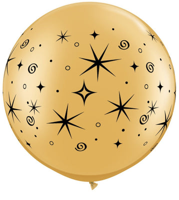 LATEX JUMBO PRINTED BALLOON 90CM - SPARKLES & SWIRLS METALLIC GOLD PK 2