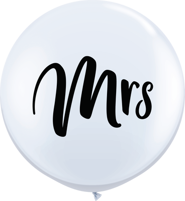 LATEX JUMBO PRINTED BALLOON 90CM - WHITE MRS