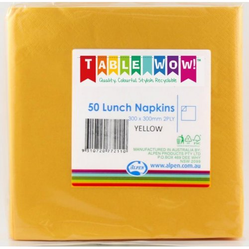 LUNCH NAPKIN - 2PLY YELLOW PK50