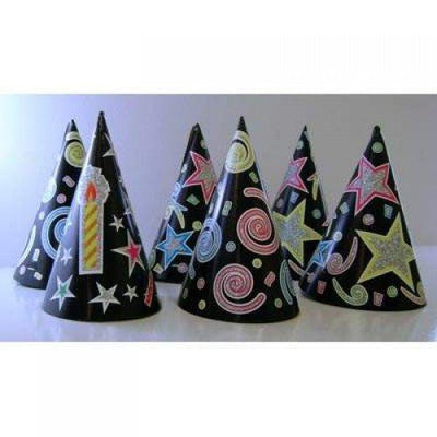 PARTY CONE HATS BLACK PRINTED WITH GLITTER 6PCS