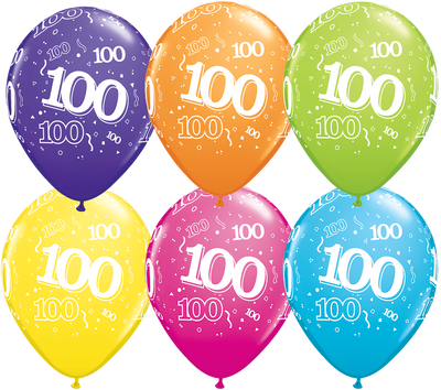 PRINTED LATEX BALLOON 28CM - 100TH BIRTHDAY TROPICAL ASSORTMENT PK 50