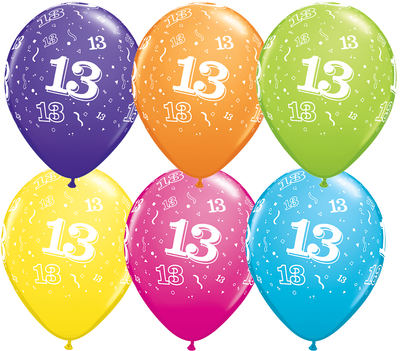 PRINTED LATEX BALLOON 28CM - 13TH BIRTHDAY TROPICAL ASSORTMENT PK 50