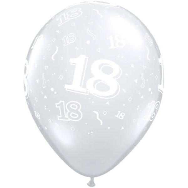 PRINTED LATEX BALLOON 28CM - 18TH BIRTHDAY DIAMOND CLEAR