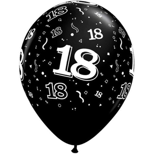 PRINTED LATEX BALLOON 28CM - 18TH BIRTHDAY PEARL BLACK