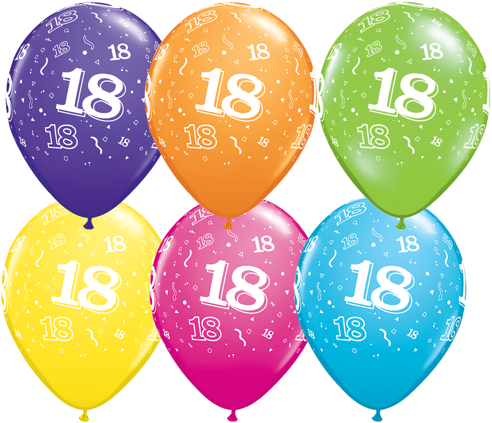 PRINTED LATEX BALLOON 28CM - 18TH BIRTHDAY TROPICAL ASSORTMENT PK 50