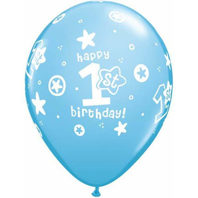 PRINTED LATEX BALLOON 28CM - 1ST BIRTHDAY BLUE BOY PK 50