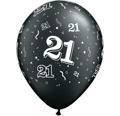 PRINTED LATEX BALLOON 28CM - 21TH BIRTHDAY PEARL BLACK