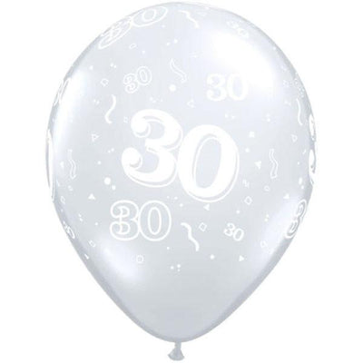 PRINTED LATEX BALLOON 28CM - 30TH BIRTHDAY DIAMOND CLEAR