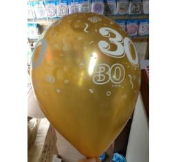 PRINTED LATEX BALLOON 28CM - 30TH BIRTHDAY METALIC GOLD