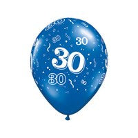 PRINTED LATEX BALLOON 28CM - 30TH BIRTHDAY PEARL SAPHIRE BLUE