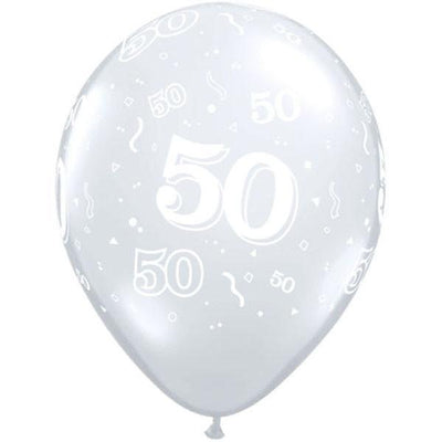 PRINTED LATEX BALLOON 28CM - 50TH BIRTHDAY DIAMOND CLEAR