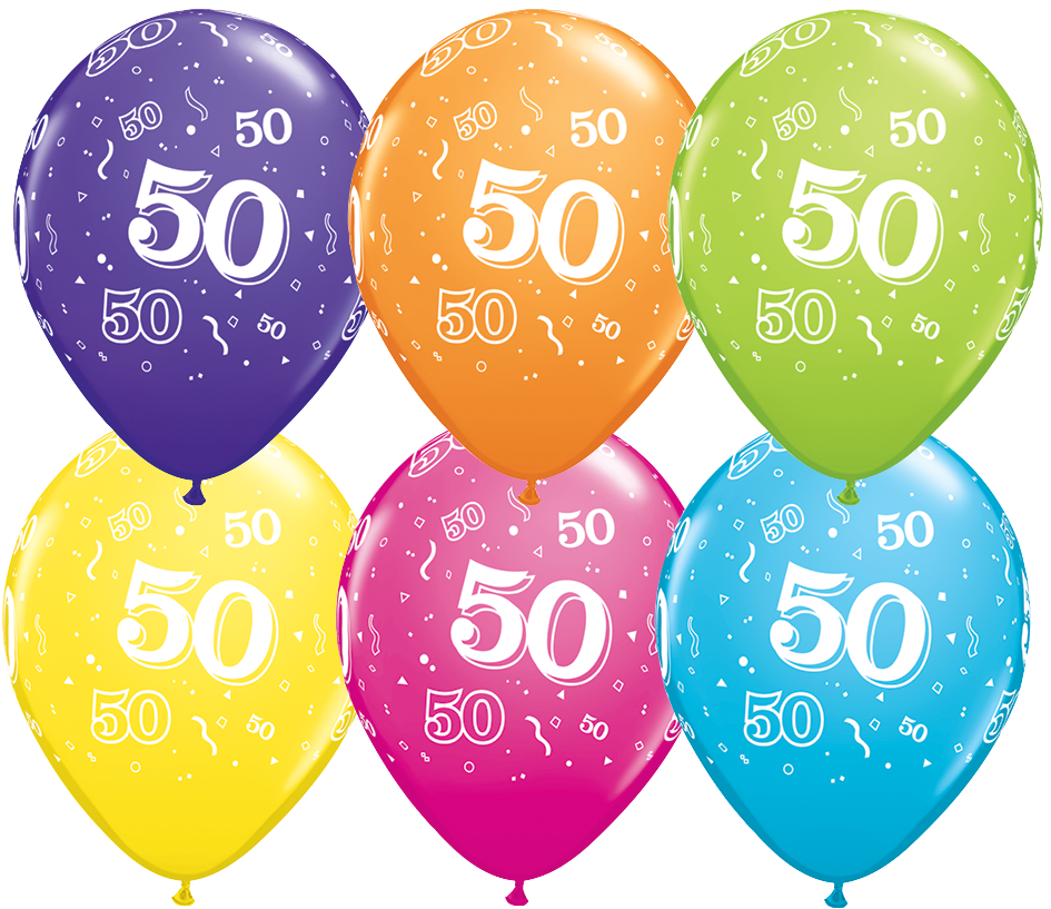 PRINTED LATEX BALLOON 28CM - 50TH BIRTHDAY TROPICAL ASSORTMENT PK 50