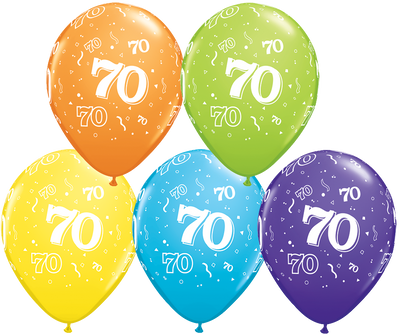 PRINTED LATEX BALLOON 28CM - 70TH BIRTHDAY TROPICAL ASSORTMENT PK 50