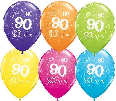 PRINTED LATEX BALLOON 28CM - 90TH BIRTHDAY TROPICAL ASSORTMENT PK 50