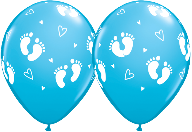 PRINTED LATEX BALLOON 28CM - BABY FOOTPRINTS & HEARTS