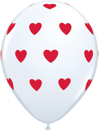 PRINTED LATEX BALLOON 28CM - BIG HEARTS RED & WHITE PK 25