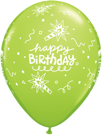 PRINTED LATEX BALLOON 28CM - BIRTHDAY CAKE & CANDLE GREEN