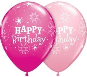 PRINTED LATEX BALLOON 28CM - BIRTHDAY SPARKLE ASSORTED PINK & WILDBERRY PK 50