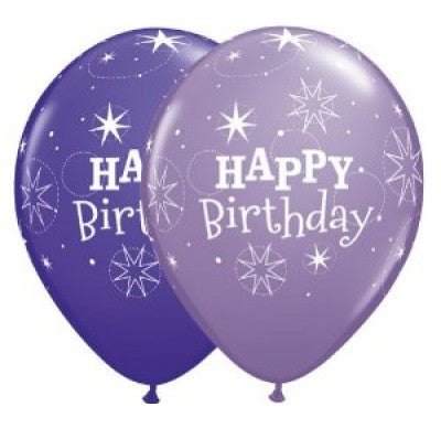 PRINTED LATEX BALLOON 28CM - BIRTHDAY SPARKLE ASSORTED PURPLE VIOLET & SPRING VIOLET PK 50